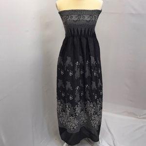 Lapis Strapless Dress OS Smocked Black